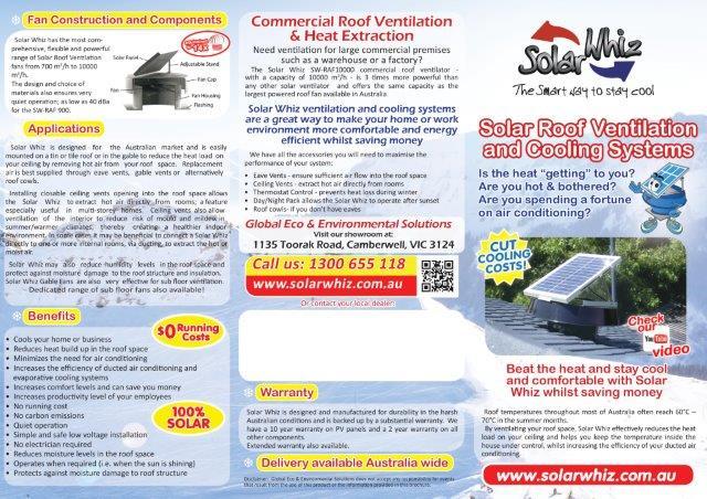 Solar Ventilation Brochure Solar Whiz Ventilation